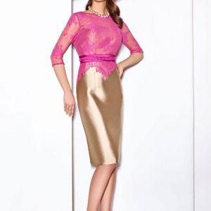 vestido para invitada en color rosa y dorado